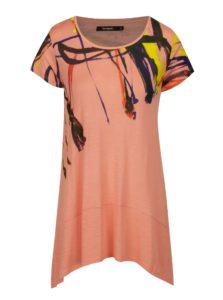 Ružové asymetrické tričko s krátkym rukávom Desigual Aristo