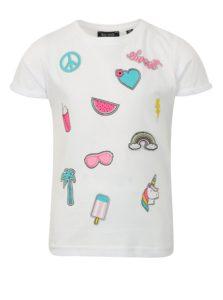 Biele dievčenské tričko s potlačou a nášivkou Blue Seven