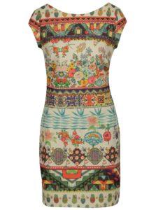 Béžové trblietavé vzorované šaty Desigual Elvira