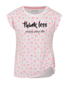 Biele dievčenské bodkované tričko s uzlom Blue Seven