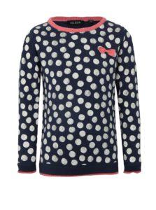 Tmavomodrý dievčenský bodkovaný sveter Blue Seven