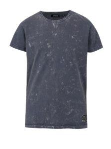 Tmavomodré chlapčenské melírované tričko s potlačou na chrbte Blue Seven