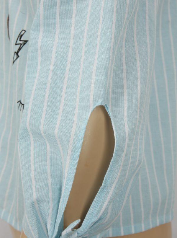 Bielo-modrá pruhovaná blúzka s odhalenými ramenami Blue Seven