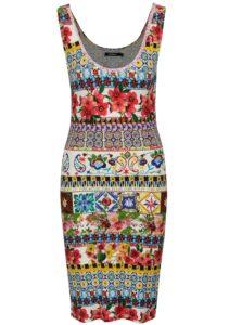 Farebné vzorované puzdrové šaty Desigual Luana