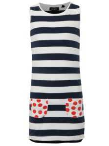 Modro-biele dievčenské pruhované šaty s vreckami Blue Seven