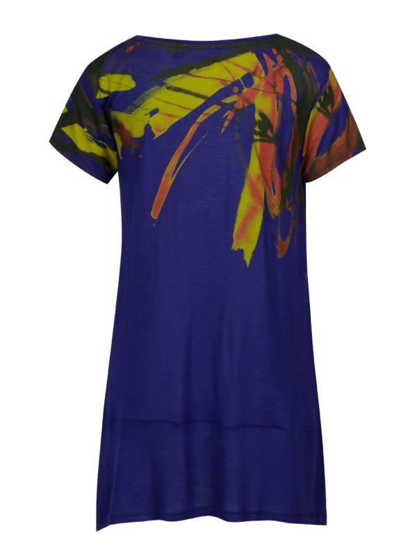 Fialové asymetrické tričko s krátkym rukávom Desigual Aristo