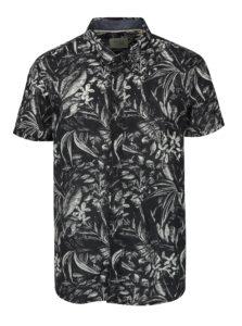 Krémovo-čierna vzorovaná slim fit košeľa s krátkym rukávom Blend