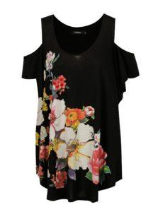 Čierne dlhé tričko s prestrihmi na ramenách Desigual Kora