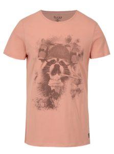Ružové slim fit tričko s potlačou Blend