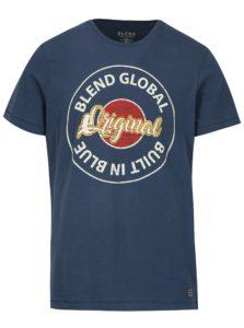 Tmavomodré slim fit tričko s potlačou a krátkym rukávom Blend