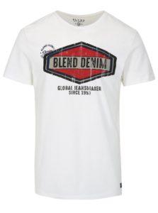 Biele slim fit tričko s potlačou a krátkym rukávom Blend