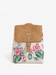 Hnedo-béžový batoh s kvetovanou výšivkou Desigual Hannah Toronto