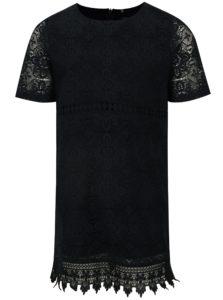 Tmavomodré čipkované šaty s krátkym rukávom name it Fisusan