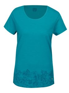Tyrkysové dámske tričko s okrúhlym výstrihom a potlačou LOAP Balisey