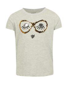 Svetlosivé dievčenské melírované tričko s magickými flitrami name it Fille