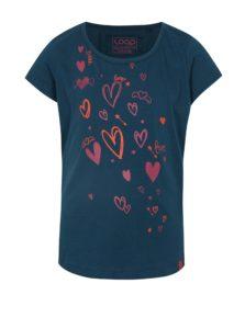 Tmavomodré dievčenské tričko s potlačou LOAP Ibiska