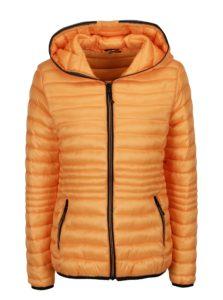 Oranžová prešívaná bunda s kapucňou Yest