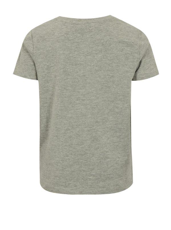 Sivé chlapčenské melírované tričko s potlačou name it Sam