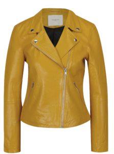 Žltá kožená bunda Selected Femme Marlen