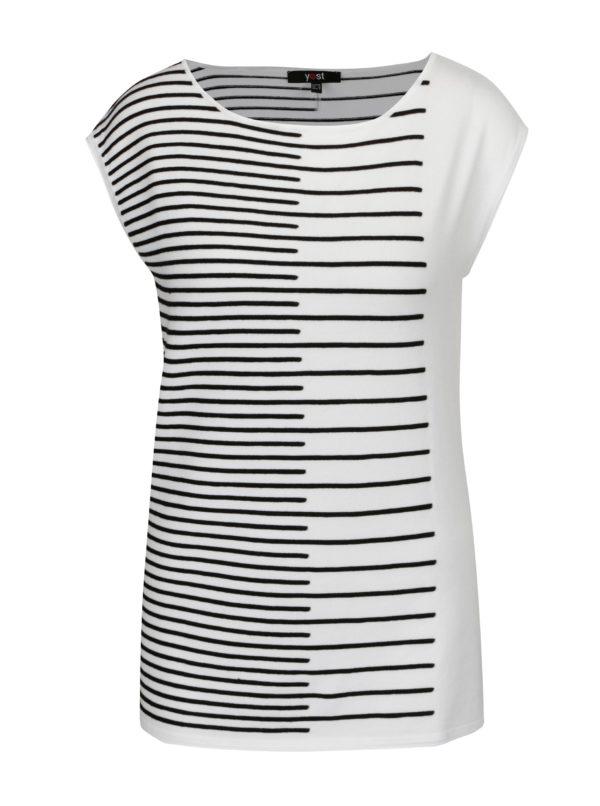 Čierno-biele svetrové vzorované tričko Yest