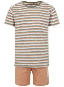 Marhuľovo-sivé dievčenské pruhované pyžamo s potlačou name it Night