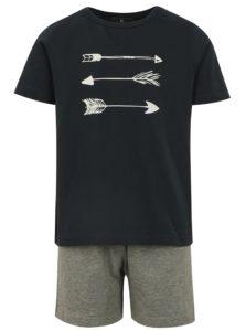 Sivo-modré chlapčenské pyžamo s potlačou name it Night