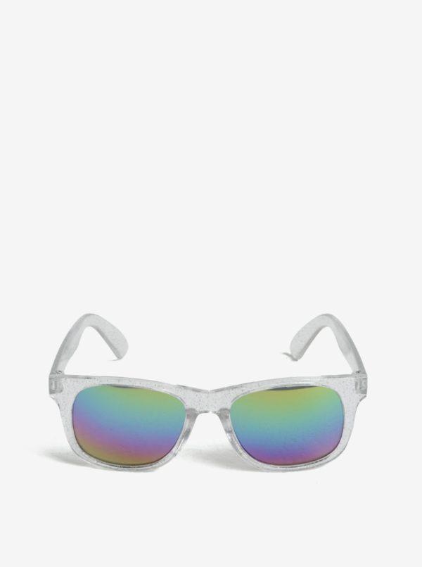 Dievčenské slnečné okuliare s trblietkami v striebornej farbe name it Sun