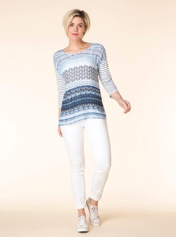 8b1f362cf Modré vzorované tričko s 3/4 rukávom Yest   Moda.sk