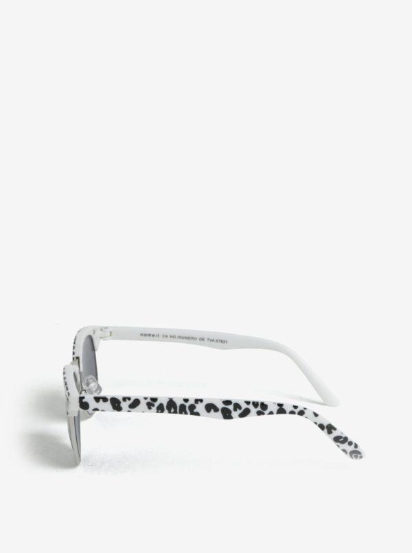 Biele dievčenské slnečné okuliare so zvieracím vzorom name it Sun