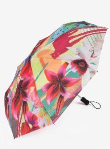 Tyrkysovo-ružový vzorovaný dáždnik Desigual Crhystal Gogo