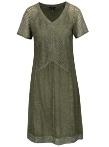 Kaki melírované šaty s krátkym rukávom Yest