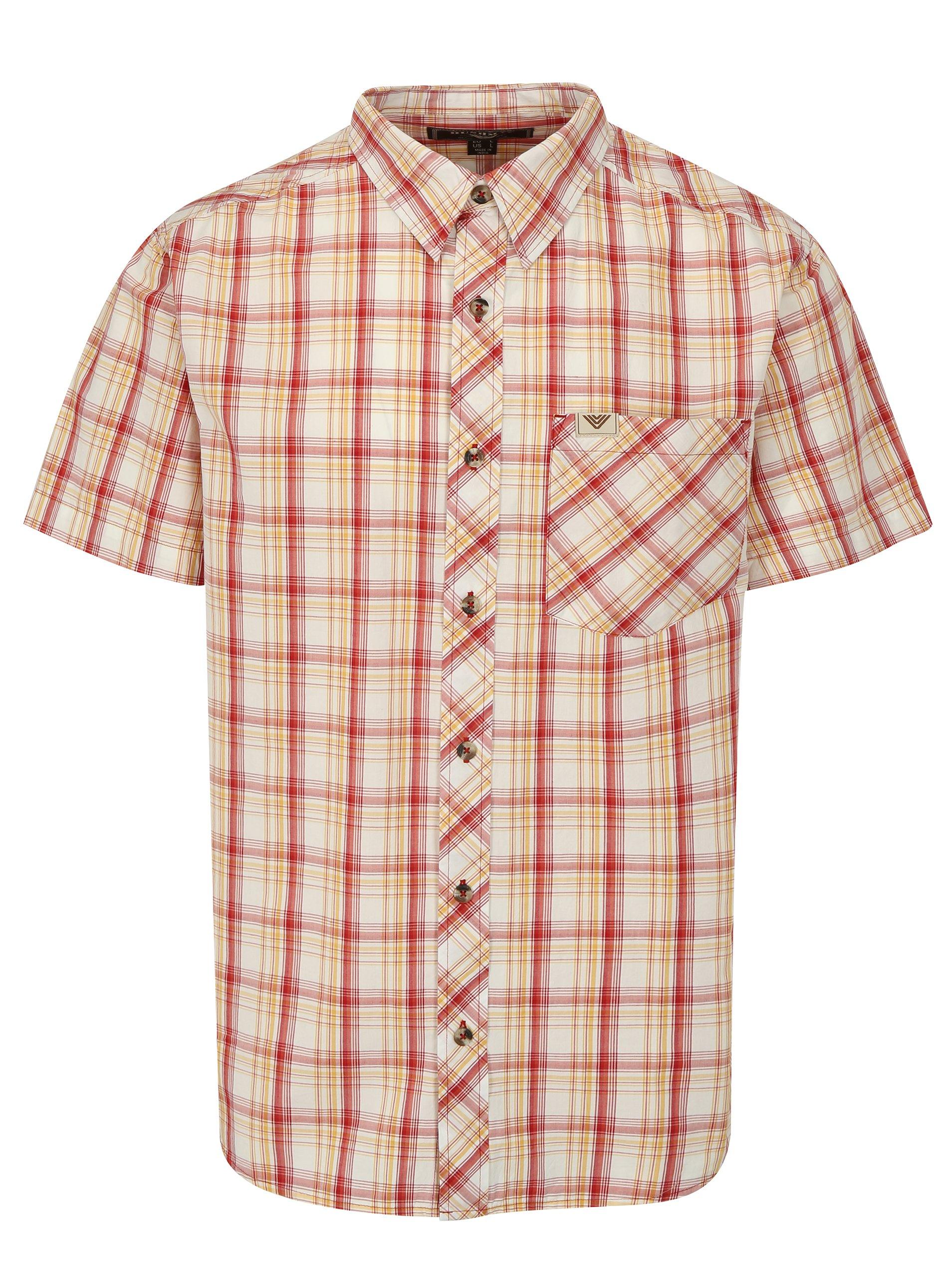 b9909530b146 Krémovo-červená pánska károvaná košeľa BUSHMAN Inez