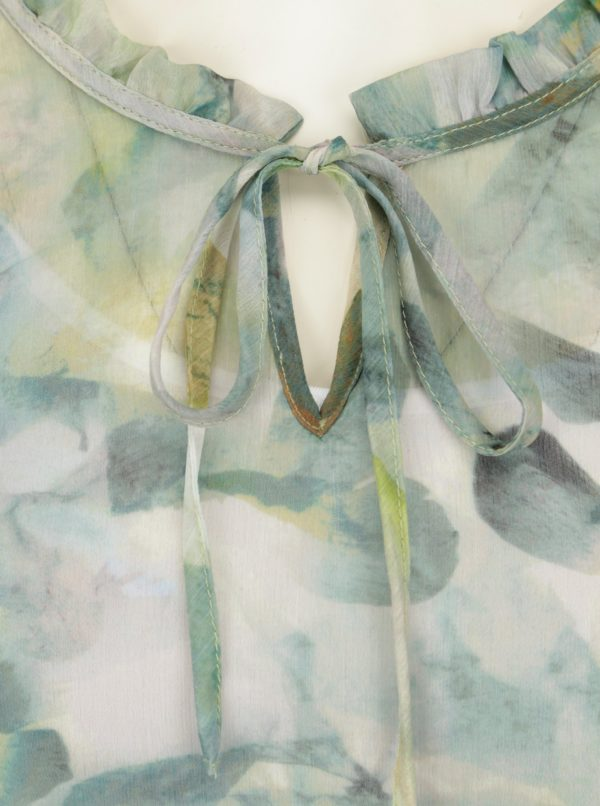 Krémovo-zelená vzorovaná blúzka s 3/4 rukávom Yest