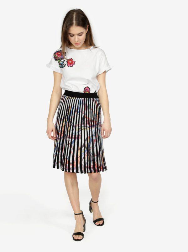 690612fbfe9a Krémovo-čierna vzorovaná plisovaná sukňa Desigual Lady Liberty