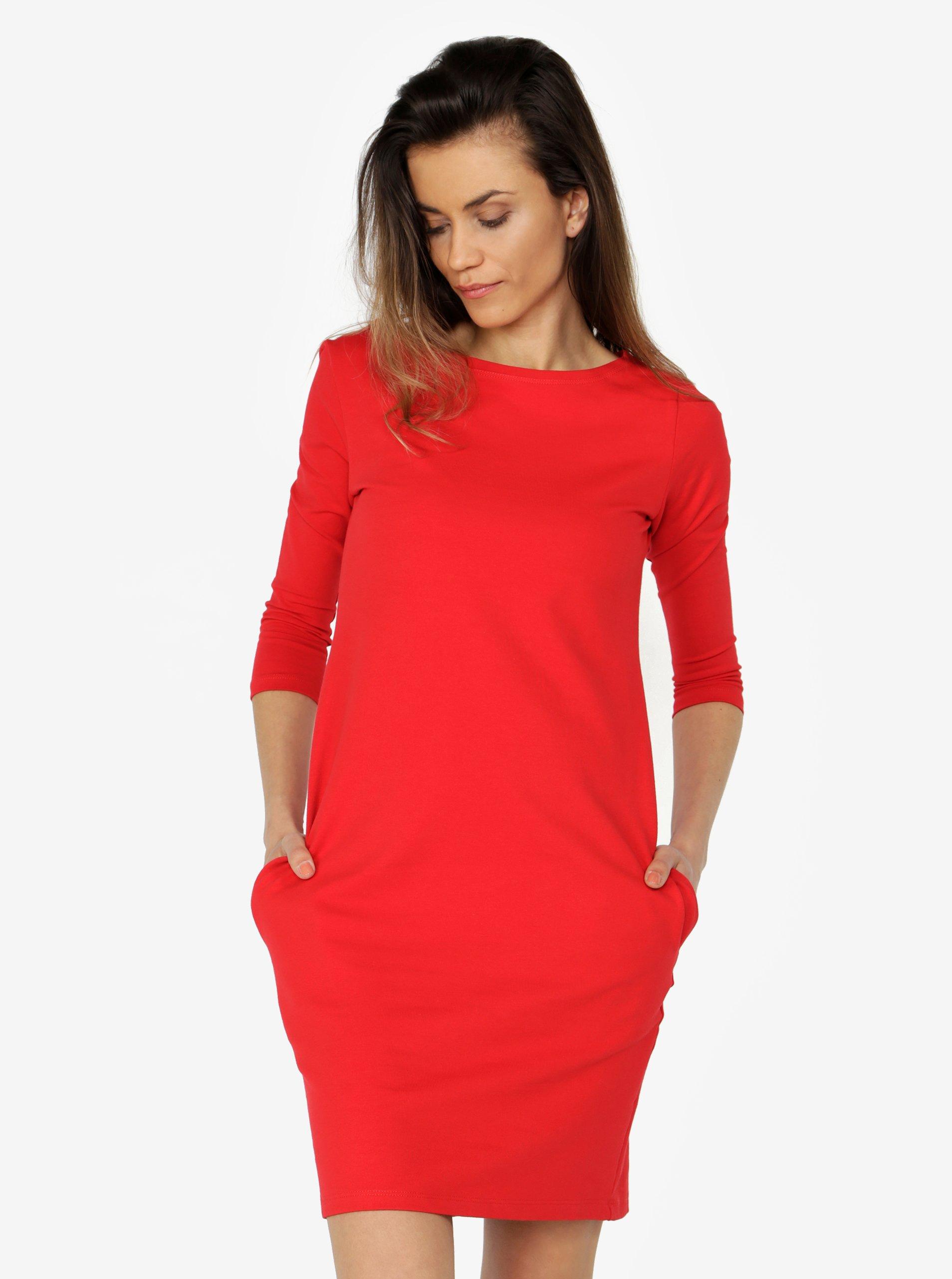Červené šaty s 3 4 rukávom ZOOT  5a32f9925d6