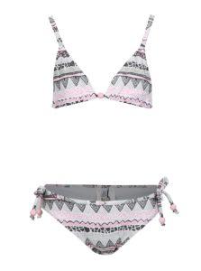 Ružovo-krémové dievčenské dvojdielne plavky tuc tuc Printed