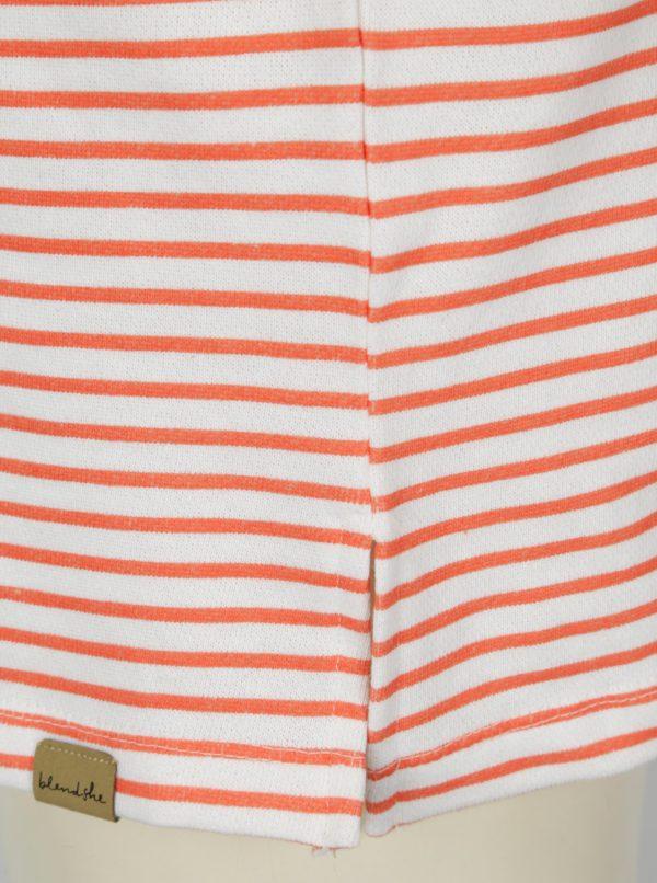 Oranžovo–biela pruhovaná mikina so šnurovaním vo výstrihu Blendshe Cilie
