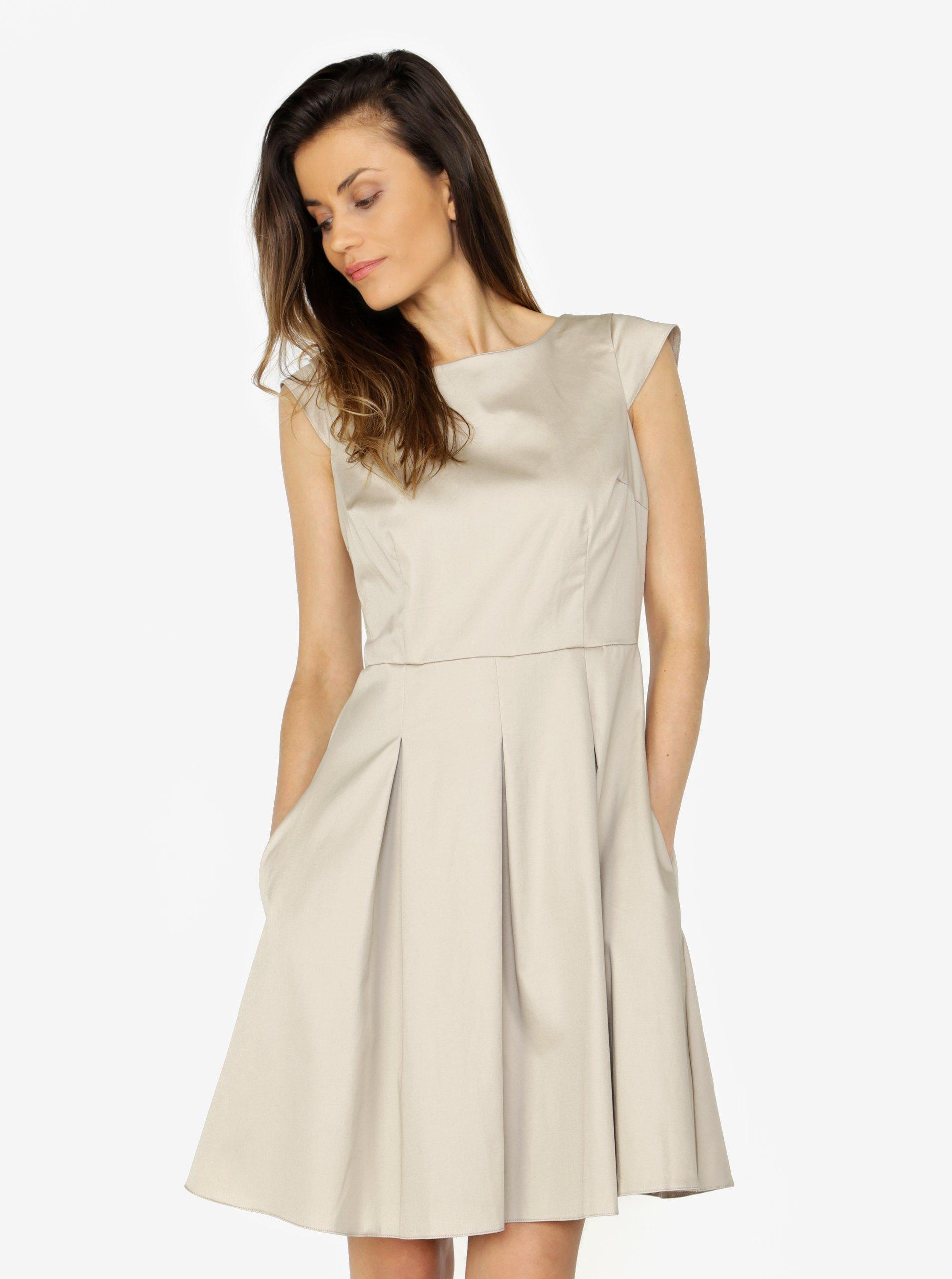 9fbd5d17e723 Béžové šaty s áčkovou sukňou ZOOT