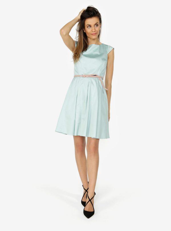 bfa8e68154f2 Mentolové šaty s áčkovou sukňou ZOOT