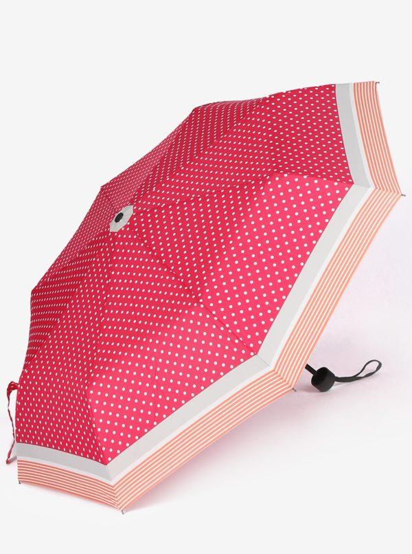Ružový dámsky bodkovaný skladací dáždnik s.Oliver