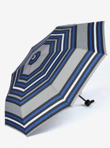Modro-sivý skladací pruhovaný dáždnik s.Oliver