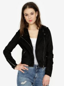 Čierna koženková bunda v semišovej úprave Noisy May Trixie