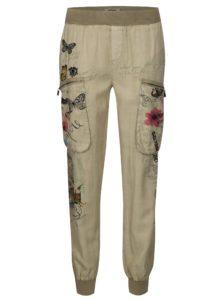 Béžové voľné nohavice s potlačou a výšivkou Desigual Eddy