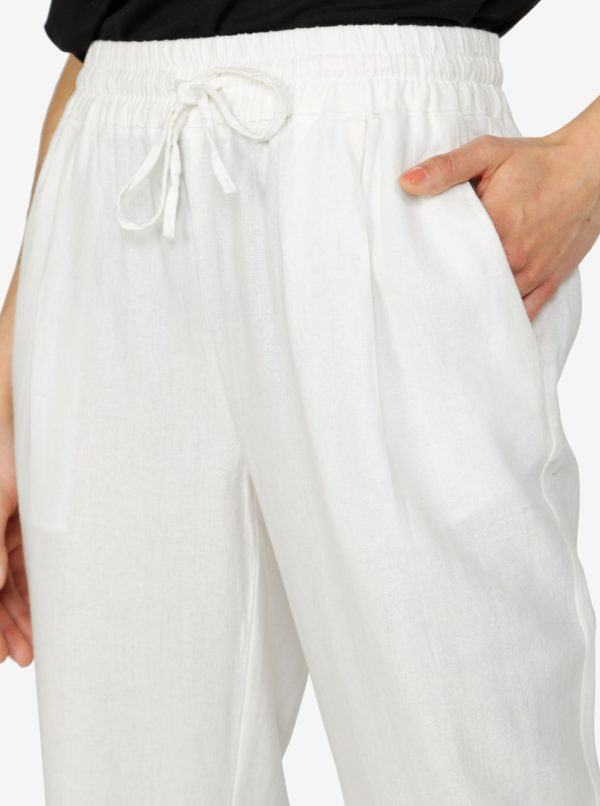 Krémové nohavice s vreckami VERO MODA Masta Milo