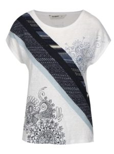 Modro–biele tričko s potlačou Desigual Bernice