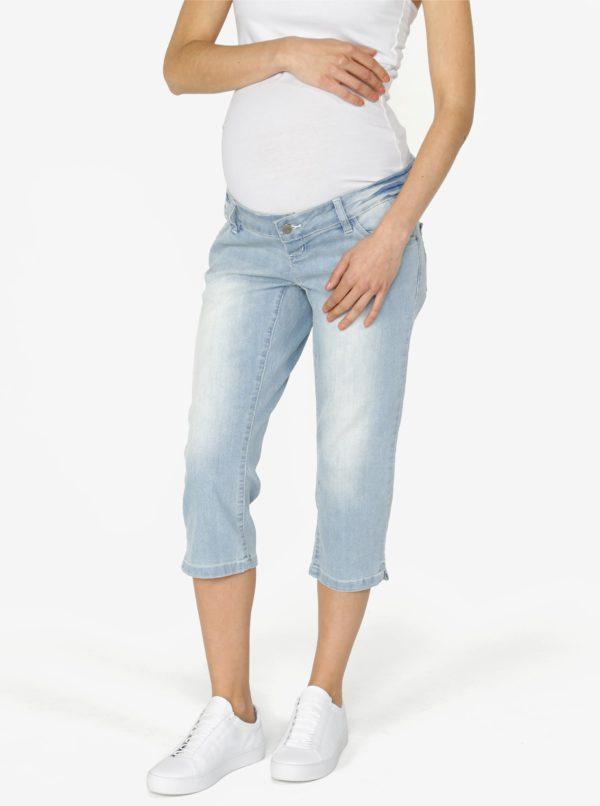 Svetlomodré tehotenské slim fit rifľové kraťasy Mama.licious Josie