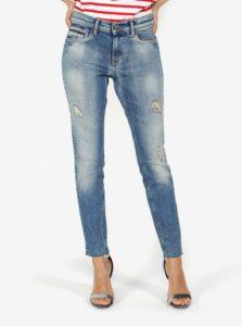 Modré dámske skrátené skinny rifle s nízkym pásom Calvin Clain Jeans