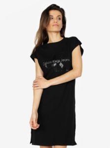 Čierne šaty s potlačou Calvin Klein Jeans