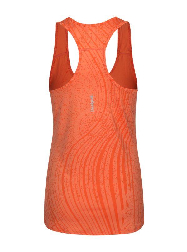 Oranžové športové tielko s abstraktným vzorom Desigual Sport