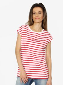 Bielo–červené dámske pruhované tričko Calvin Klein Jeans
